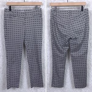 Cache Crop Ankle Pants Black White Geo Print